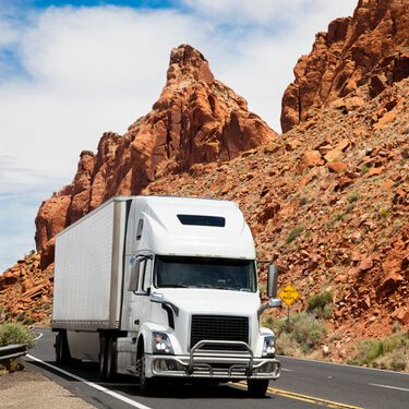 White Semi Truck Cross Border Freight from or to Arizona